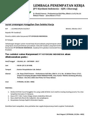 Surat Panggilan Kerja Pt Kiyokuni Indonesia Cikarang
