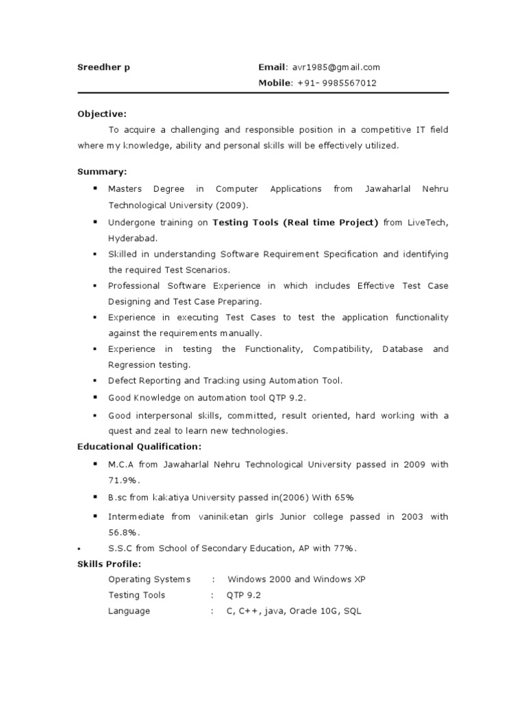 resume Resume For Testing testing fresher resume1 information technology management technology