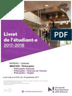 PHILLIA Livret 17-18 Licence Philosophie