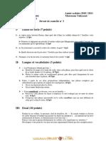 Devoir de Contrôle N°3 Lycée pilote - Français - Bac Sciences exp (2010-2011) Mr yahyaoui