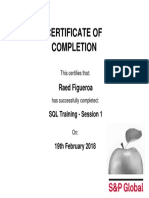 SQL Training Session 1 Course Certificate