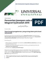 Pencarian jawapan ada di dalam Magnet Syahadah 2015