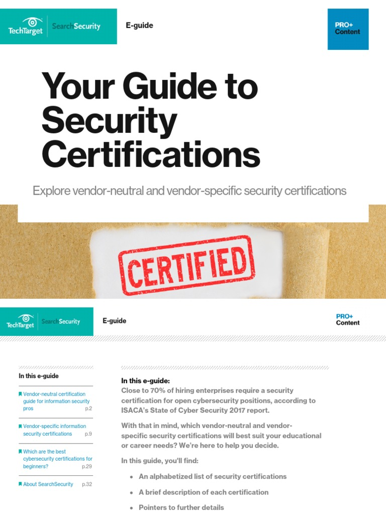 Security Certifications Cisco Certifications Computer Security