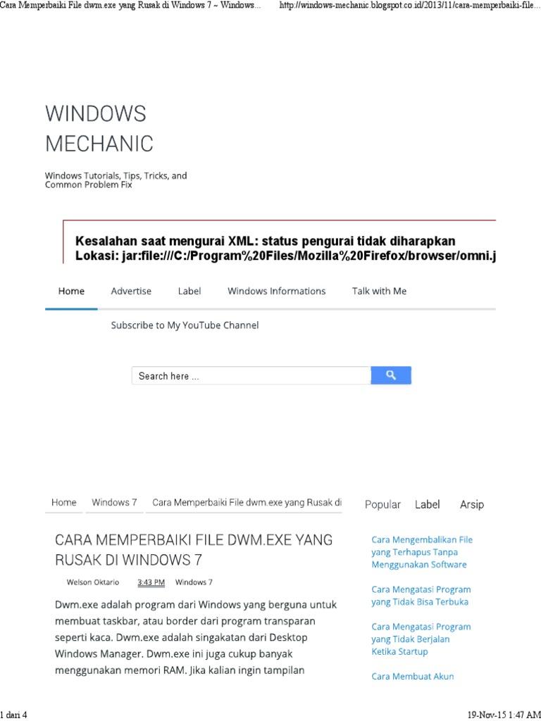 Cara Memperbaiki File Dwm Exe Yang Rusak Di Windows 7