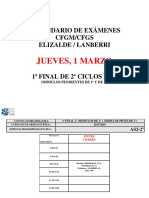 Calendario Exámenes Jueves 1 Marzo 2018