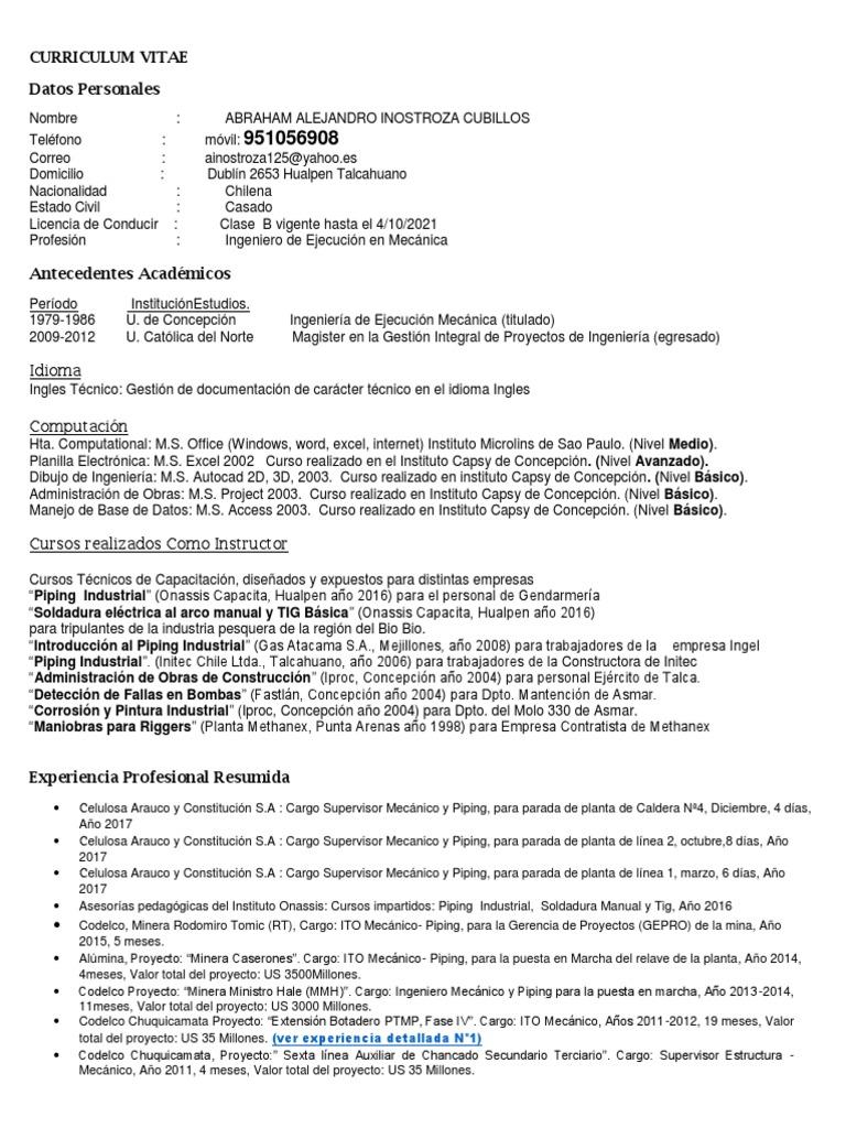 Excelente Qa Qc Ingeniero Formato Cv Ornamento - Ejemplo De ...