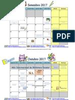 Calendário mensal primeiro período