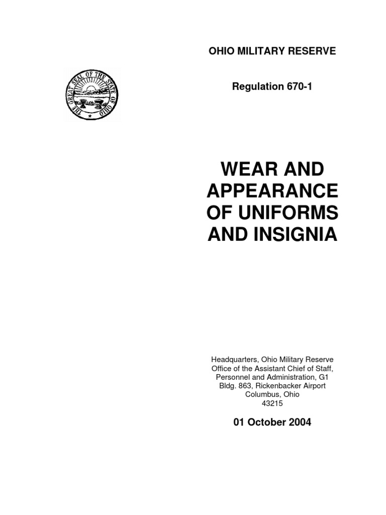 Ohio Military Reserve Wear Appearance Of Uniforms Insignia