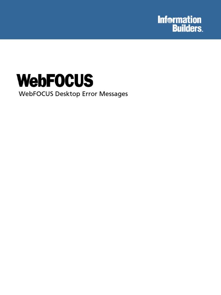 WebFOCUS Desktop Error Messages pdf | Dependent And Independent