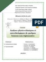 Analyses Physico-chimiques Et Microbiologiques de Quelques Boissons Non Réglementées