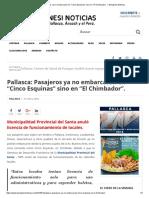 """Pallasca_ Pasajeros Ya No Embarcarán en """"Cinco Esquinas"""" Sino en """"El Chimbador"""". – Bolognesi Noticias"""
