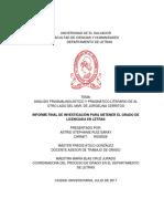 Análisis pragmalinguístico y pragmático literario de al otro lado del mar, de Jorgelina Cerritos