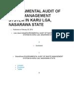 Environmental Audit of Waste Management System in Karu Lga