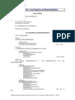 Ley 27972 - Ley Organica de Municipalidades