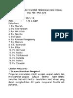 Minit Mesyuarat Panitia Pendidikan Seni Visual Kali Pertama 2018