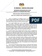 Press Release by Menteri Kewangan II Malaysia's International Reserves (2013-2015)
