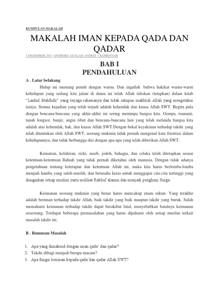 Contoh Artikel Contoh Artikel Qada Dan Qadar
