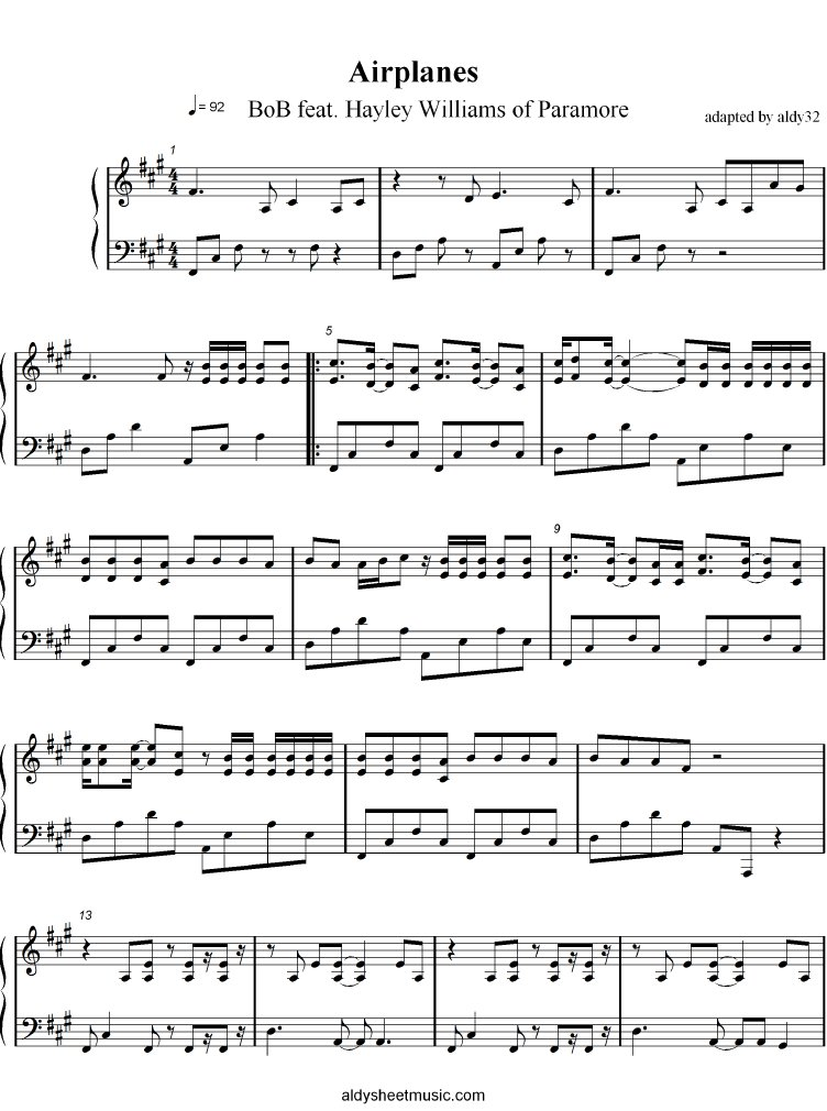 All Music Chords paramore sheet music : Airplanes - BoB Feat. Hayley Williams of Paramore