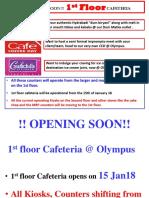 Admin Communication - Cafe Facilities at Olympus