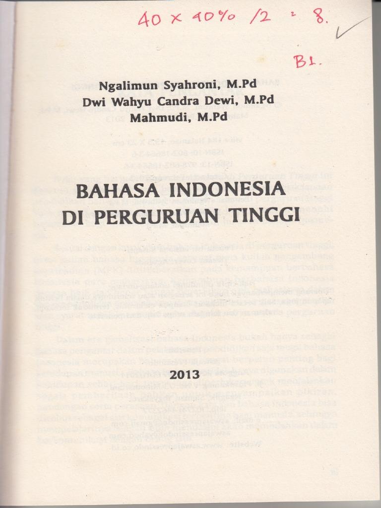 Buku Bahasa Indonesia Di Perguruan Tinggi