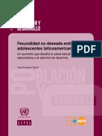 Fecundidad No Deseada Entre Las Adolescentes Latinoamericanas