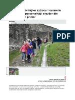 Impactul Activităţilor Extracurriculare În Dezvoltarea Personalităţii Elevilor Din Învăţământul Primar