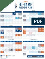 2018 Schedule 41 Game Weekend Plan