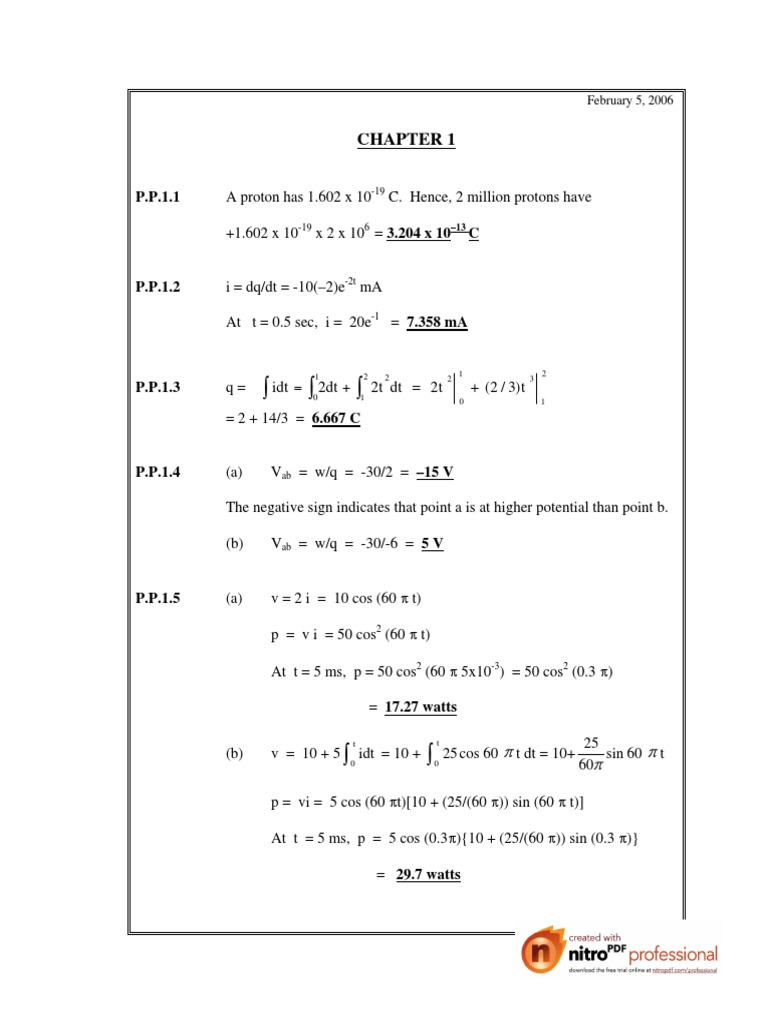 Fundamental of electric circuits alexander sadiku practice
