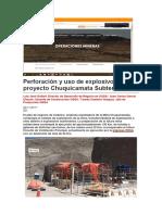 Perforación y Uso de Explosivos en El Proyecto Chuquicamata Subterráneo