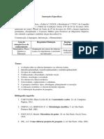 Instruções Específicas - Comunicação, Linguagens, Informação e Humanidades