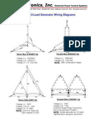[DIAGRAM_38IU]  Common 12-Lead Generator Wiring Diagrams: Series Wye (416/480V 3ø) Parallel  Wye (208/240V 3ø) | 12 Lead Generator Wiring Diagram |  | Scribd