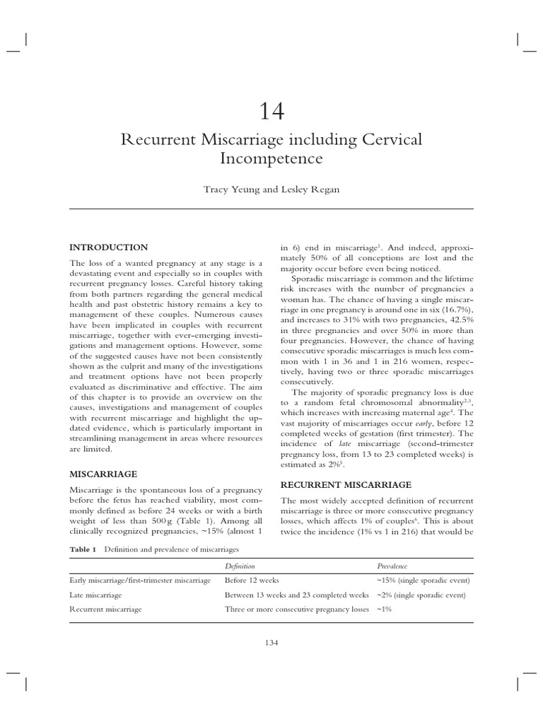 Chapter 14 Recurrent Miscarriage Including Cervical