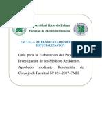 Guia Para Elaboracion Proyectos de Investigacion 2017 - Nuevo