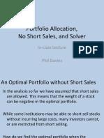 Portfolio Allocation, No Short Sales, And Solver