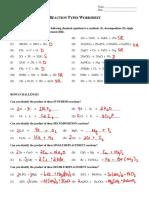 12 - reaction types worksheet key