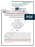 A Study on Working Capital Management with Special Reference to Steel Authority of India Limited, Salem