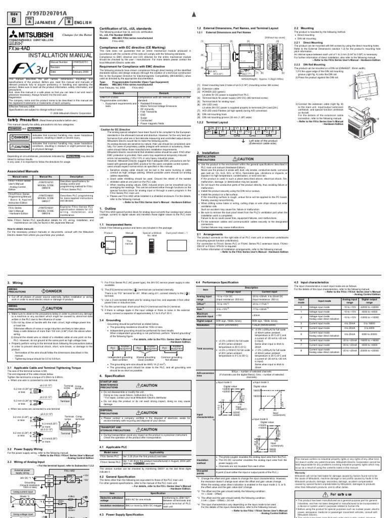Fx3u 4ad Installation Manual