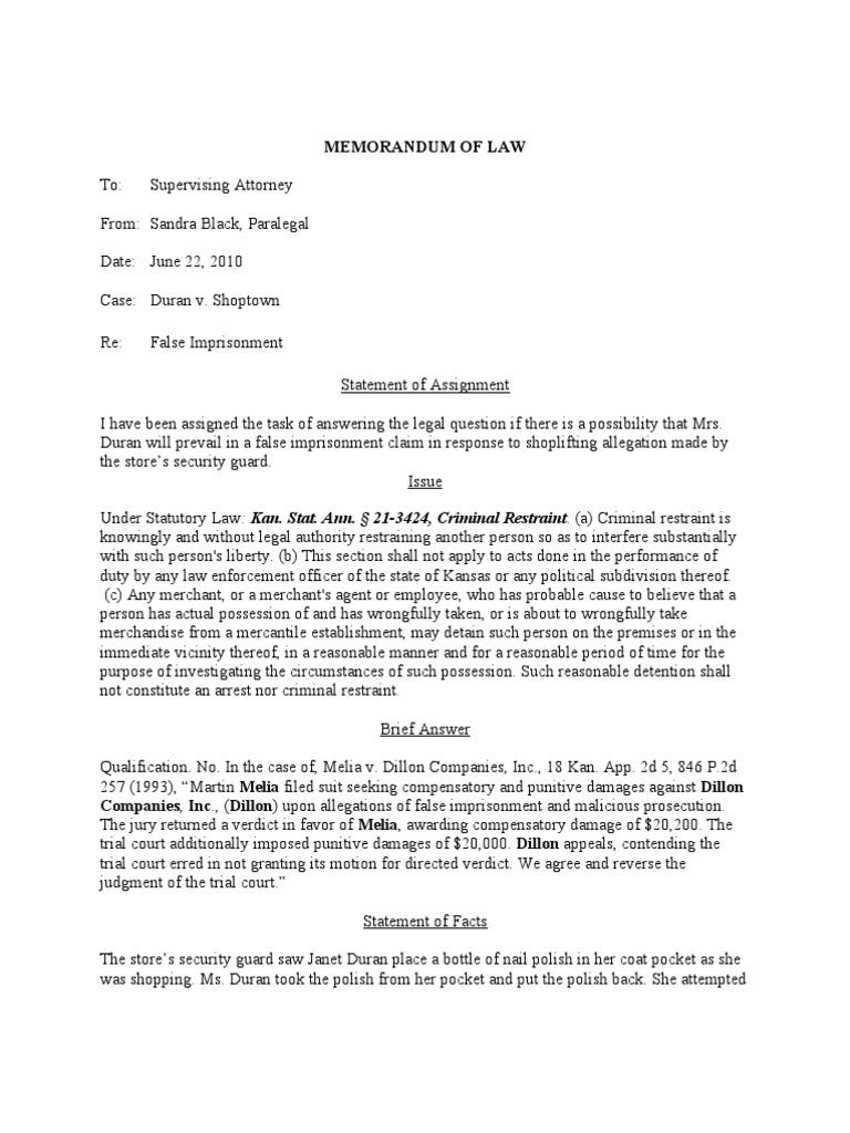 LA240 Legal Writing Final Exam Duran Legal Memo Sandra Black Or ...