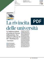 La rivincita delle università - Il Corriere della Sera del 1 marzo 2018