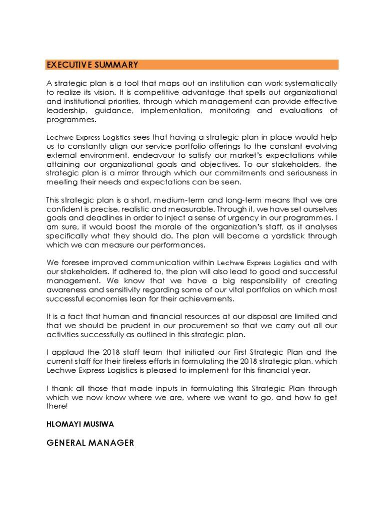 Em Lechwe Strategic Plan 2018 | Strategic Planning | Logistics