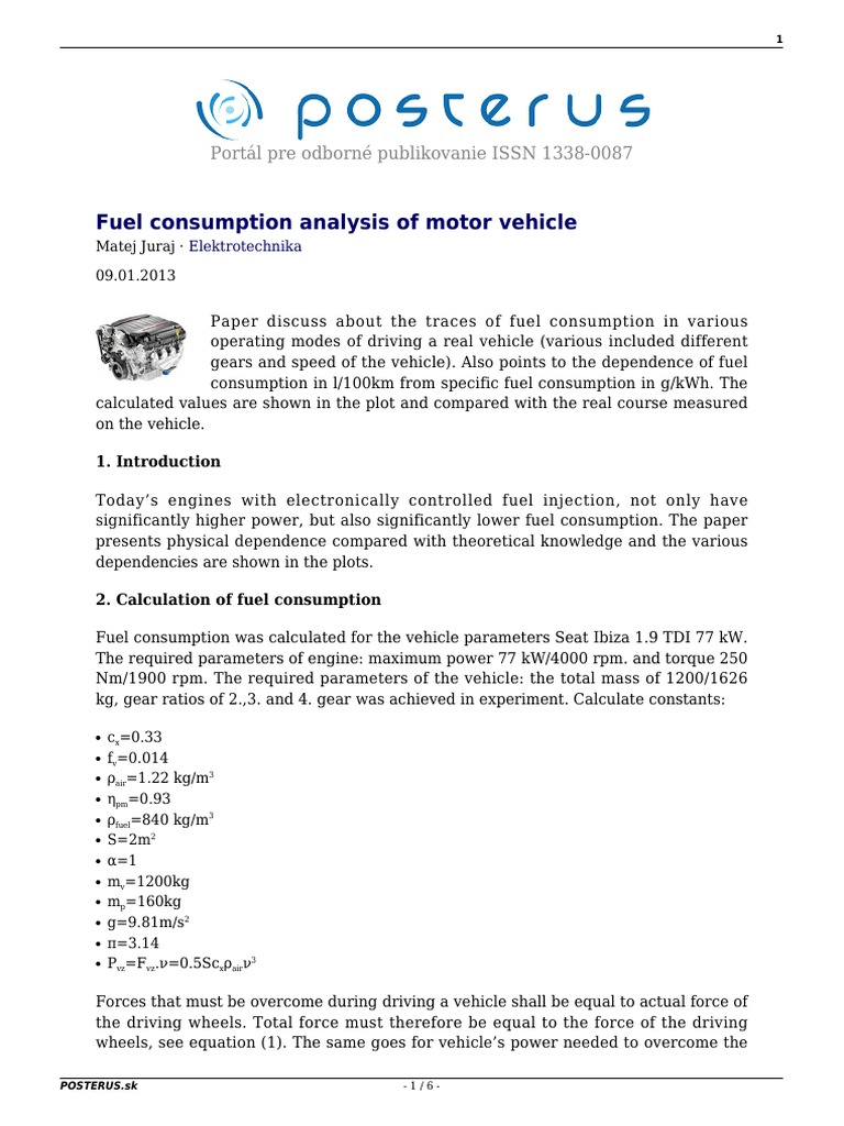 Fuel Consumption Analysis of Motor Vehicle | Fuel Economy In