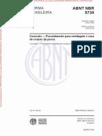 Concreto Ensaio NBR 5738-2015 - Procedimento Para Moldagem de Corpos de Provas