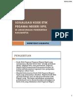 Materi Sosialisasi Kode Etik Pegawai Negeri Sipil