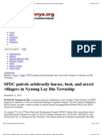 SPDC Patrols Arbitrarily Harass, Beat, And Arrest Villagers in Nyaung Lay Bin Township