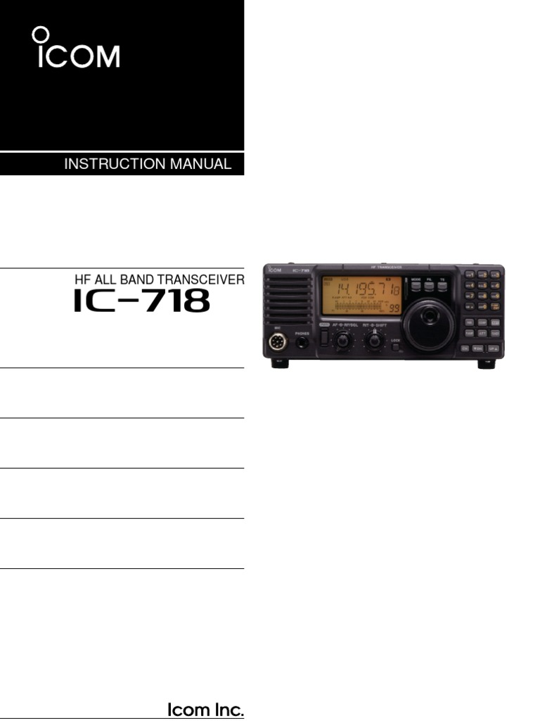 icom ic 718 instruction manual microphone amplifier rh scribd com Icom Transceivers History Kenwood Transceiver