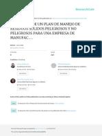 Propuesta de Un Plan de Manejo de Residuos Solidos