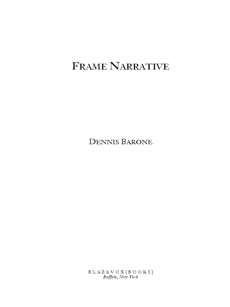 Frame Narrative by Dennis Barone Book Preview | Narrative | Poetry