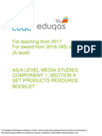 gce media studies teaching from 2017 component 1 section a set print products