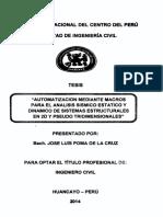 Automatizacion Mediante Macros Para Analisis Sisimicao Estatico y Dinamico de Sistemas Estructurales en 2D y Pseudo Tridimensionales