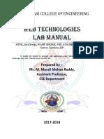 WebTechnologies Lab Manual Prepared by M. Murali Mohan Reddy